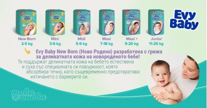 Evy Baby Completely New Бебешки Пелени - Всички размери