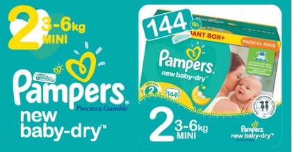 Pampers 2 Mini 2-6 kg New baby dry Пелени Box 144 бр