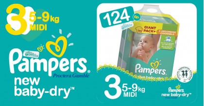 Pampers 3 Midi 5-9 kg New baby dry Пелени Box 124 бр