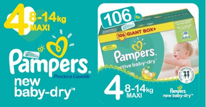 Pampers 4 Maxi 8-14 kg New baby dry Пелени Box 106 бр