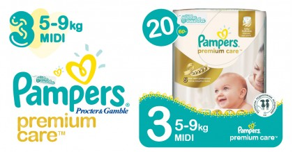 Pampers 3 Midi 5-9 kg Premium care Пелени 20 бр